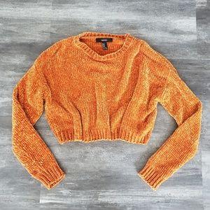 Burnt Orange Chenille F21 Crop Sweater Long Sleeve